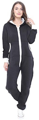 Neue stilvolle Damen-Kapuzenpulli Hood Strampelanzug Körperanzug Jumpsuit Overall Medium Schwarz