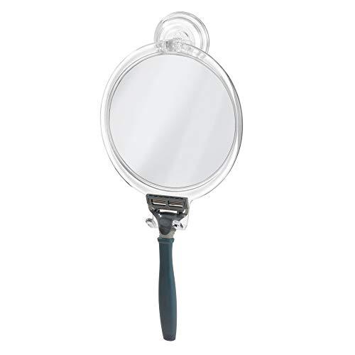 InterDesign Power Lock miroir de rasage, miroir à maquillage incassable en plastique avec ventouses puissantes, transparent