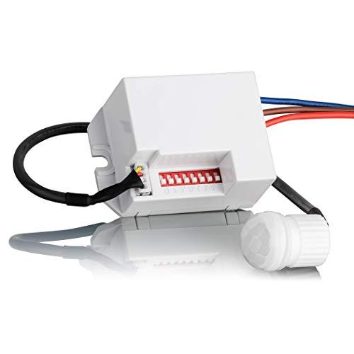 SEBSON® Mini Detector de movimiento empotrable, interior, montaje en pared, programable, sensor de infrarrojos, alcance 6m/360°, LED adecuado