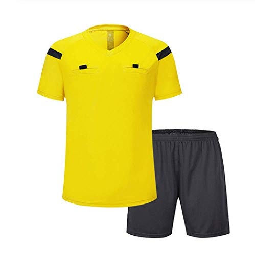 XIAOL Conjuntos De Uniformes De árbitro De Fútbol Uniformes De árbitro De Poliéster Conjuntos De Uniformes De árbitro De Fútbol De Hombres Adultos,Yellow-XL