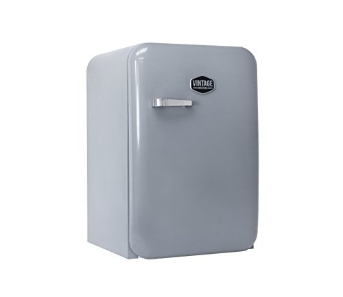 Vintage Industries ~ Kompakt Retro-Kühlschrank Kingston 2018 in silber   Mini-Bar 50er Jahre Look   Größe: 84cm & 115l Volumen   Tisch-Kühlschrank mit Temperatureinstellung, Wein- & Gemüsefach