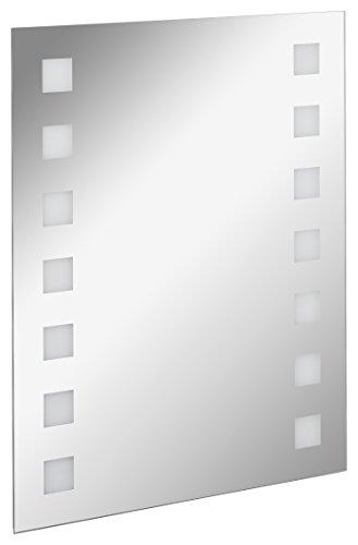FACKELMANN LED Spiegel karo Mirrors/Wandspiegel mit LED-Beleuchtung und Ambientelicht/Maße (B x H x T): ca. 60 x 75 x 2 cm/hochwertiger Spiegel/moderner Badezimmerspiegel/Breite 60 cm