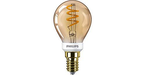 Philips Lighting LED Classic Bombilla, 15 W, P45 E14, Dorada, Efecto Llama, Regulable