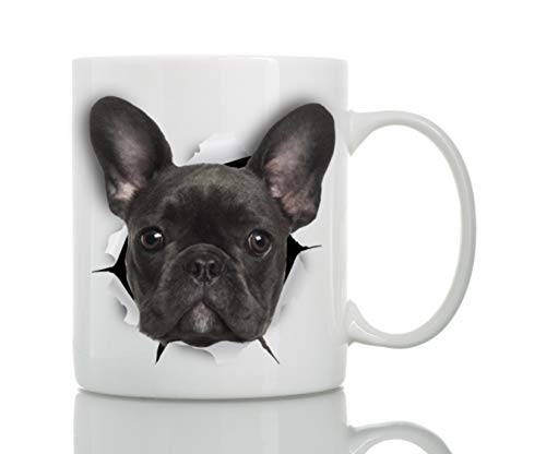 Black French Bulldog Mug - Ceramic Funny Coffee Mug - Perfect French Bulldog Gifts - Cute Novelty Coffee Mug Present - Great Birthday or Christmas Surprise for Friend or Coworker, Men and Women (15oz)