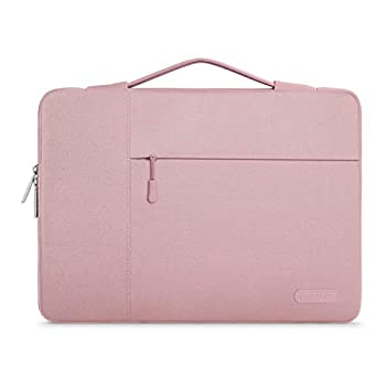 MOSISO Laptop Sleeve with Corner Protection Compatible with 13-13.3 inch MacBook Pro MacBook Air Surface Laptop 3/2/1 13.5 Polyester Briefcase Bag Pink