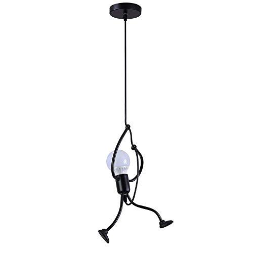 Moderne Suspension Lustre Chambre d'Enfant,Rétro Metal Suspension Noir Créatif fer Gens Dessin animé Conception Lampe Élégant Suspension