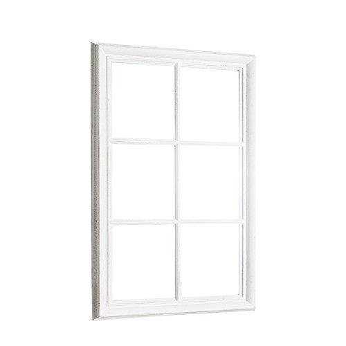 Romantischer Spiegel WINDOW weiß 105 cm im Shabby Look Wandspiegel Dekoration Standspiegel Fenster-Optik