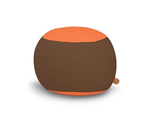 Ergonomischer Kindersitzsack Stanley, Sitzsack von Terapy, Braun / Orange, Für drinnen und draußen, 70cm x 70cm x 60cm, 320 Liter, Mit EPS-Granulat, Aus samtig weicher Baumwolle