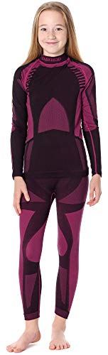 Ladeheid Kinder Mädchen Jungen Funktionsunterwäsche Set Langarm Shirt Lange Unterhose Thermoaktiv LASS0006 (Schwarz/Rosa, 134-140)