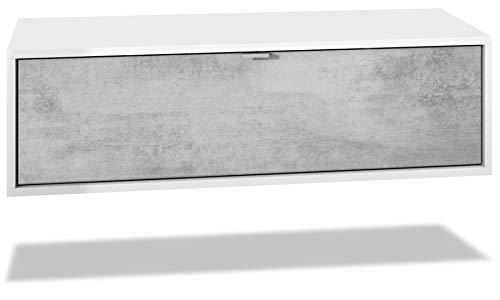 Mueble televisor Lana 100 Mueble de Pared para televisión 100 x 29 x 37 cm, Cuerpo en Blanco Mate, Frentes en Hormigón Oxidado   Gran Variedad de Colores