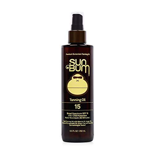 Sun Bum SPF 15 Moisturizing Tanning Oil | Broad Spectrum UVA/UVB Protection | Coconut Oil, Aloe Vera, Hypoallergenic, Paraben Free, Gluten Free, Vegan | 8.5 oz Bottle, 1 Count