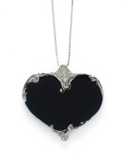 925 Sterling Silver Heart Necklace Pendant Handmade Black Polymer Clay Jewelry, 16.5