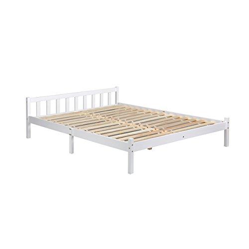 Homy Casa Cadre de lit double en bois massif durable pour lit King size Lattes robustes et économes de l'espace Meuble de chambre Blanc