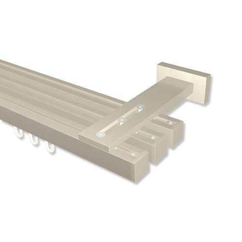 INTERDECO Innenlauf-Gardinenstangen eckig Satin-Silber dreiläufig 20x20 mm Quadline (Multi) Sono, 280 cm