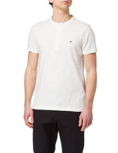 Tommy Hilfiger Slub SS Henley Camiseta, Crudo, L para Hombre