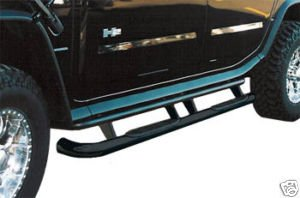 OC Parts Hummer H2 Black Side Bars/Nerf Bars: 2003, 2004, 2005, 2006, 2007, 2008, 2009