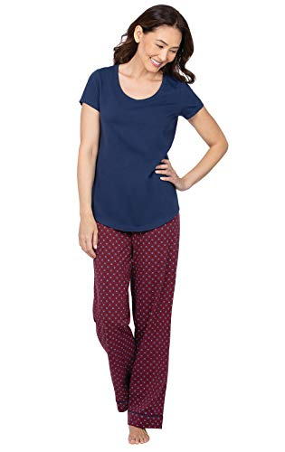 PajamaGram Cotton Pajamas for Women - Womens Pajama Sets, Burgundy, M 8-10