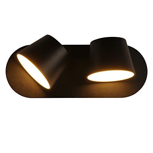 BarcelonaLED Aplique de Pared Aluminio Negro Lámpara Nórdica Moderna Interior con 2 Focos LED Giratorios Orientables 2x6W Blanco Cálido 2700K