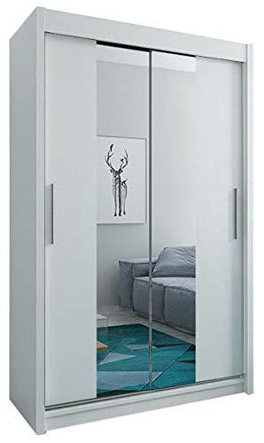 Kryspol Schwebetürenschrank Tokyo 1-150 cm mit Spiegel Kleiderschrank mit Kleiderstange und Einlegeboden Schlafzimmer- Wohnzimmerschrank Schiebetüren Modern Design (Weiß)