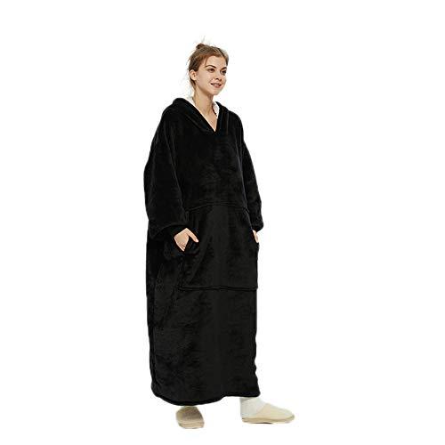 Manta con capucha para acurrucar, manta larga de gran tamaño con forro polar sherpa suave, bolsillos, túnica gruesa gigante con capucha, manta para televisión, pijama para adultos y hombres (negro)