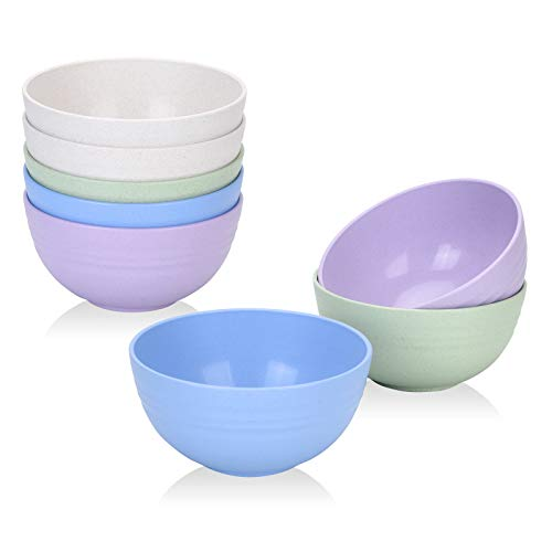 [Set of 8] Unbreakable Cereal Bowls 24 OZ Set Microwave and Dishwasher Safe BPA Free E-Co Friendly...