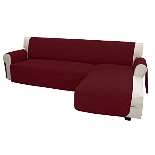 Easy-Going Sofa Slipcover L Shape Sofa Cover Sectional Couch Cover Chaise Lounge Cover Reversible Sofa Cover Furniture Protector Cover for Pets Kids Children Dog(X-Large, ChristmasRed/ChristmasRed)