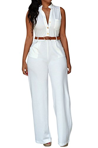 Pink Queen Womens Jumpsuits White Sleeveless Button Long Jumpsuits Rompers, White ,Large