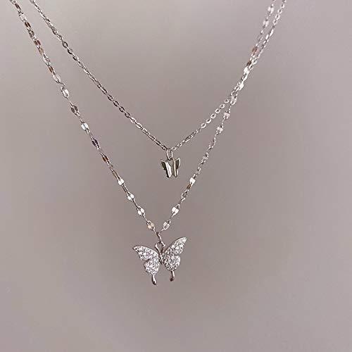 ShSnnwrl Collar Temperamento Atemporal Flash Diamante Mariposa Collar Temperamento Atemporal Doble para Mujer Diseño Simple Crist