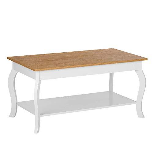 Tavolino da caffè Piano in Legno Chiaro Gambe Bianche 100 x 55 cm Hartford