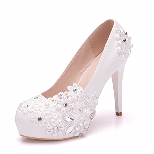 Zapatos De Boda para Mujer Tacones Altos, Plataforma Zapatos De Novia con...