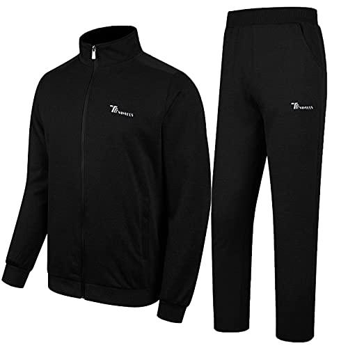 YSENTO Herren Trainingsanzug Jogginganzug Sportanzug Fitness Jogginghose Fußball Jacke Sporthose Trainingsjacke für Männer(Schwarz,L)