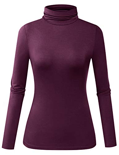 Herou Turtle Neck Top Stretch Pullover for Women Purple Red Small