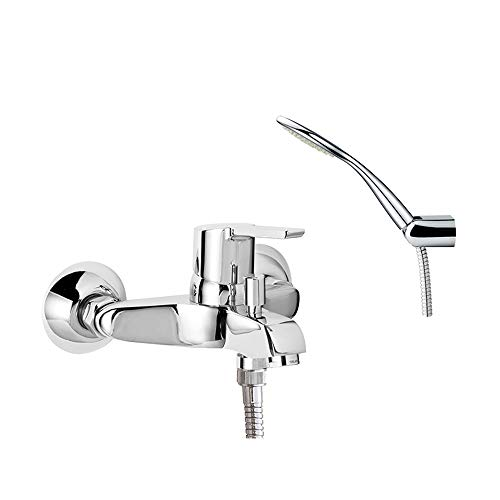 Ramon Soler 46C305031 Atalanta – Grifo de bañera, con teleducha ABS y flexo, sistema C2 de ahorro de agua del 50%, limitador de temperatura y cromado Diamond Finish, cromo