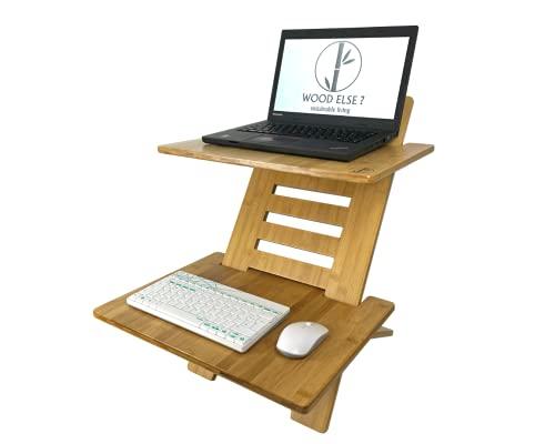 WOOD ELSE ? Sitz Steh Arbeitsstation - SCHMAL - Bambus - höhenverstellbar - nachhaltig - ergonomischer Schreibtischaufsatz/Computertisch mit Tastaturablage