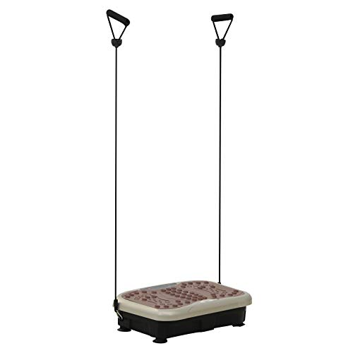 HOMCOM Placa de Vibración Plataforma vibratoria con 2 Bandas Elásticas para Fitness Entrenamiento 200W Control Remoto 99 Velocidades Carga 120kg Pantalla LED