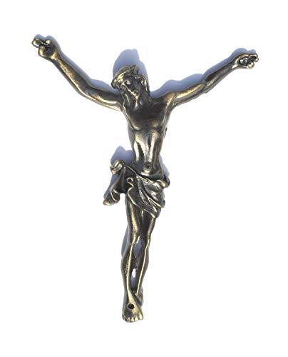 R.EG: Jesus Christus Figur - 14,5 x 12 x 1,5 cm - für Wand oder Kreuz - aus Kupferlegierung - EIN Kruzifix als Dekor oder als Geschenk