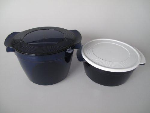 TUPPERWARE Mikrowelle Microcook 2,25L,  1,5 L blau Cook Microplus rund Microturm