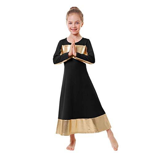 IBAKOM - Vestido Largo para niñas pequeñas/Grandes con alabanza litúrgica Color Dorado