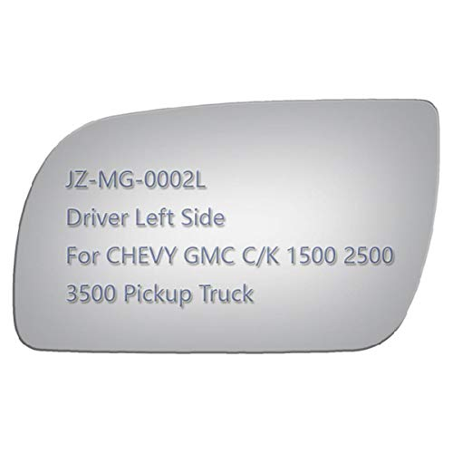 JZSUPER Side Mirror Replacement Glass fit for Chevrolet GMC C1500 C2500 C3500 K1500 K2500 K3500 Pickup Truck, Flat Left Driver Side LH, Including Adhesive (Non Towing Mirror Glass) (Non Heated)
