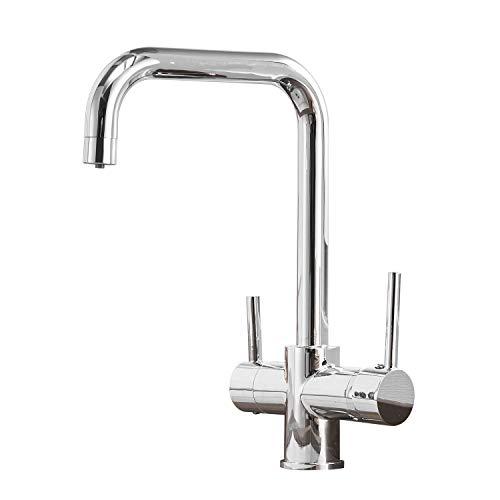 Casavilla Rubinetto da cucina a 3 vie, girevole a 360°, miscelatore 3 in 1 per filtro dell'acqua, rubinetto per lavello in acciaio inox, rubinetto con 2 leve (cromato)