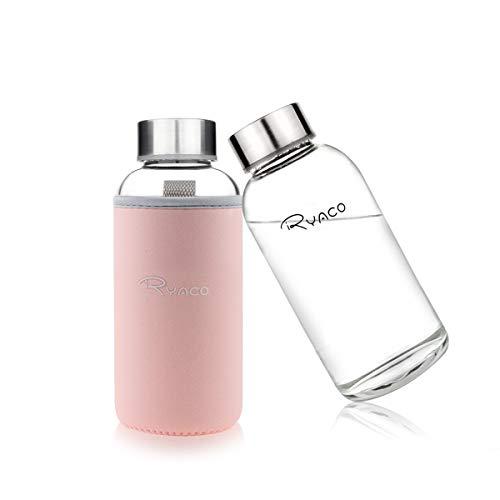 Ryaco Botella de Agua Cristal 360ml, Botella de Agua Reutilizable 12 oz, Sin BPA Antideslizante Protección Neopreno Llevar...