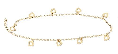 Hobra-Gold Fußkette Gold 585 mit Herz Anhängern funkelndes sexy Fußkettchen Damen 14 Karat