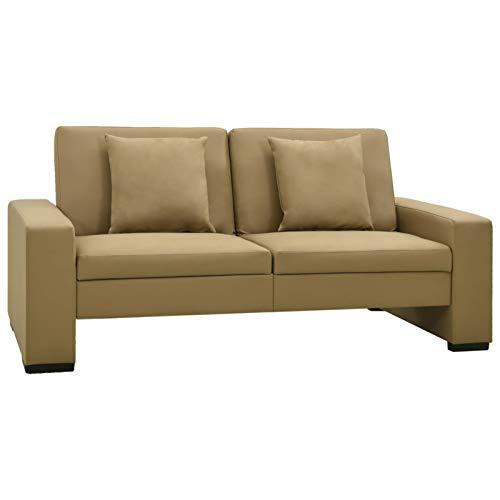 Festnight Schlafsofa Schlafcouch mit Schlaffunktion Sofa Couch mit Bettfunktion Sofabett Gästesofa Bettsofa Klappsofa, Hellgrau Stoff 176x83x81 cm/176x92x41 cm (Cappuccino-Braun)