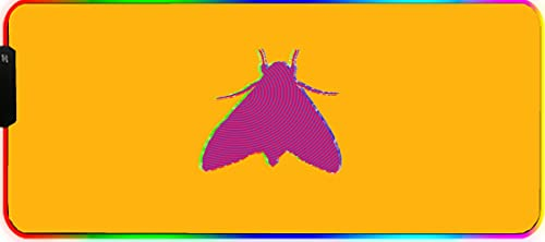 Alfombrilla Gaming, 60x35cm Extra Grande Alfombrilla Raton RGB para Juego, Base de Goma Antideslizante y Superficie Suave Resistente al Agua para Gamers, -Moscas de insectos fluorescentes amarillas