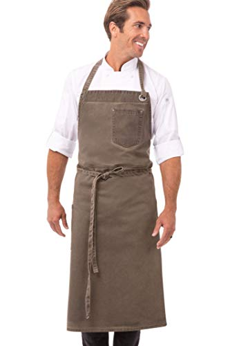 Chef Works Unisex Dorset Chefs Bib Apron, Earth Brown, One Size