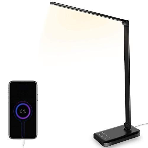 Eyeleaf Lampada da Scrivania LED, Lampada da Tavolo Ricaricabile, Lampada Pieghevole con Luminosità Regolabile, Touch Control, Timer 30/60 Mins e Porta USB, Protezione Occhi per Lettura, Lavoro