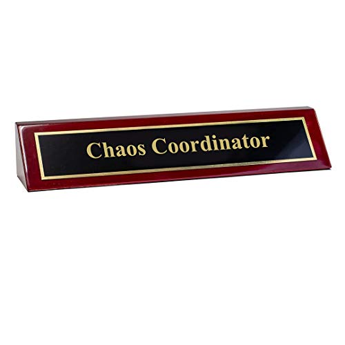 """Piano Finished Rosewood Novelty Engraved Desk Name Plate 'Chaos Coordinator', 2"""" x 8"""", Black/Gold Plate"""