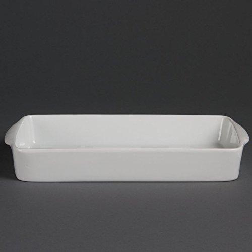 Olympia W419 Whiteware Plat à rôtir rectangulaire, blanc (Lot de 6)
