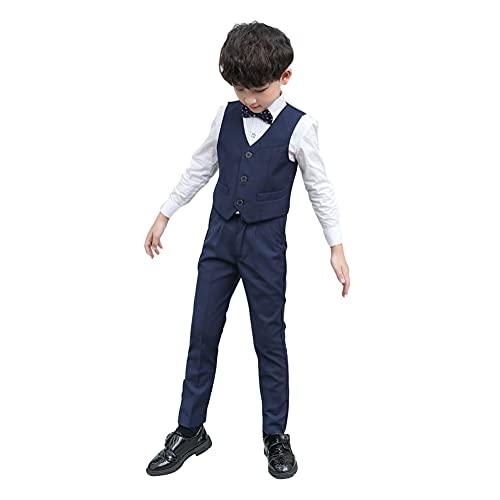 4 Pièces Costume Garçon D'honneur Gentleman Tuxedo Suit Gilet+Chemise+Pantalons Longs+Nœud Papillon Formel Ensemble pour Mariage Communion Cérémonie Anniversaire Soirée Bal Bleu marin 15-16 Ans