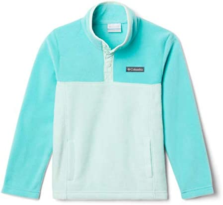 Columbia Girls Big Steens MTN 1 4 Snap Fleece Pull over Sea Ice Dolphin Large product image